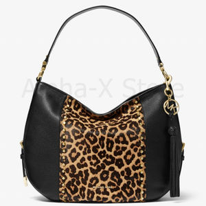 NWT Michael Kors Brooke Large Leather and Leopard